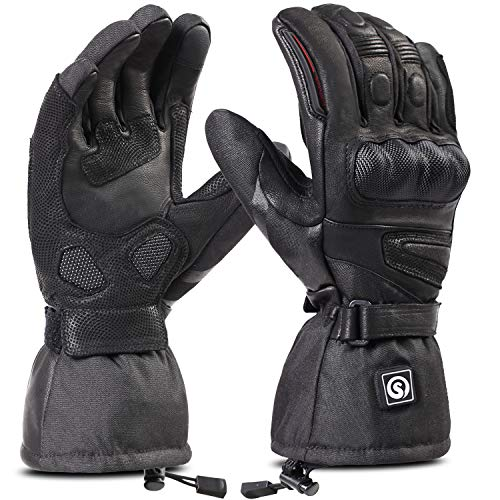 day wolf Heated Motorcycle Gloves Waterproof 7.4V 2200MAH Electric Rechargeable Battery Gloves for Winter Biking Skiing Cycling Hunting Fishing Ski Snow Men Women (2XL)