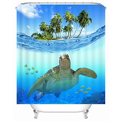 X-Labor Strand Motiv Duschvorhang Wasserdicht Stoff Anti-Schimmel inkl. 12 Duschvorhangringe Waschbar Badewannevorhang 240x200cm Muster-A