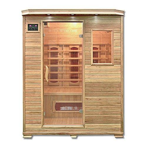 Home Deluxe – Infrarotkabine Redsun L – Keramikstrahler, Holz: Hemlocktanne, Maße: 153 x 110 x 190 cm | Infrarotsauna für 2-3 Personen, Sauna, Infrarot, Kabine
