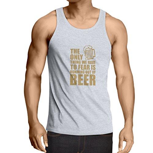 lepni.me Camisetas de Tirantes para Hombre Tener Miedo de no Tener una Cerveza - para la Fiesta, Bebiendo Camisetas (X-Large Blanco Oro)