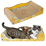 INNOLV Cat Scratcher Cardboard Sofa Bed Couch, Large Size 23.6 X 12.2 X 4.7 inches Kitten Scratching Lounge,Recycle Corrugated Cat Scratcher Couch with Catnip