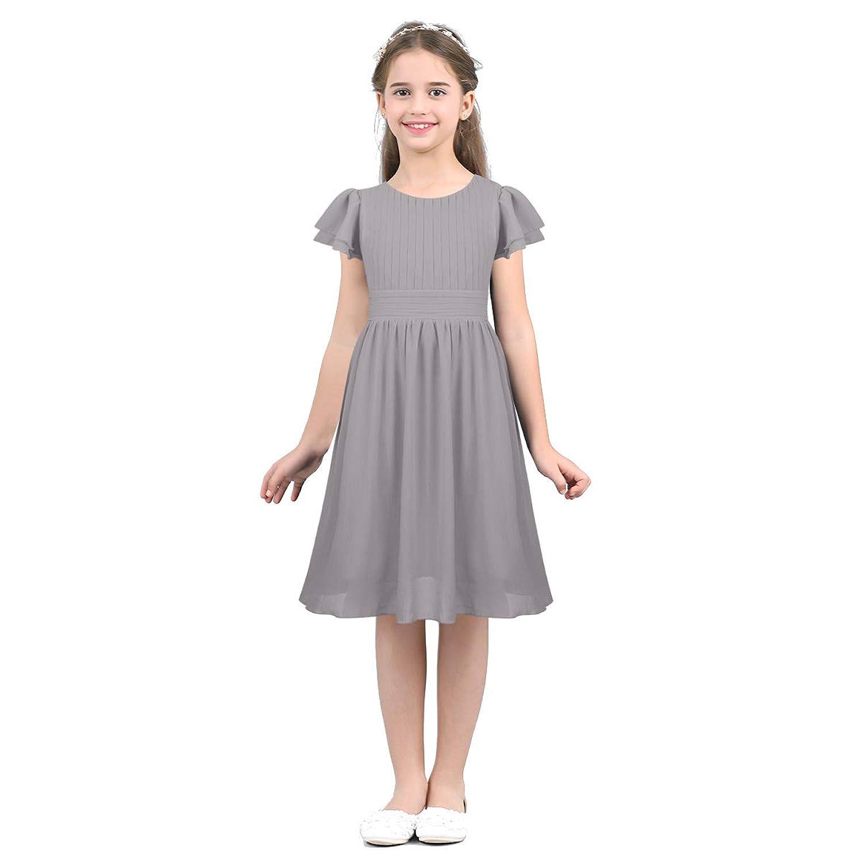 (フィーショー) FEESHOW 子供ドレス 膝丈 ドレス 女の子 ジュニア ピアノ 発表会 パーディー 演奏会 フォーマル 入園式 結婚式 シフォンドレス ワンピース