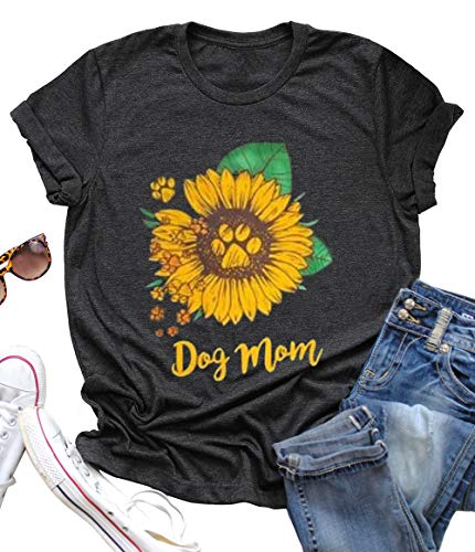 Dog Mom Sunflower Graphic Mom Gift T Shirt Women's Short Sleeve Letter Print Dog Lover Tees Casual Tops Size X-Large (Black)