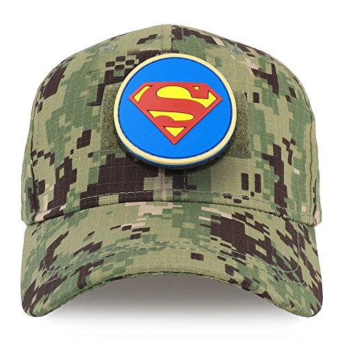Trendy Apparel Shop Youth Superman Circular Rubber Patch Structured Tactical Cap - NWU Camo