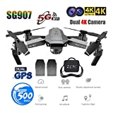 Dinglong SG907 GPS Drone avec 4K HD Double Caméra Grand Angle Anti-Tremblement WiFi FPV Quadricoptère RC Drones Pliables GPS Professionnel Follow Me (2PCs 1600mah Batterie)