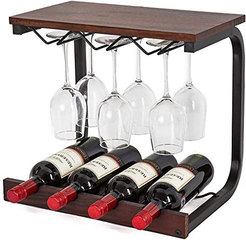 Sywlwxkq Estantes de Vino de exhibición de Mesa Vintage, Tiene Capacidad para 4 Botellas y 6 Vasos, Estante de Secado de Madera y Hierro Real, Ideal para la decoración del hogar de la Barra