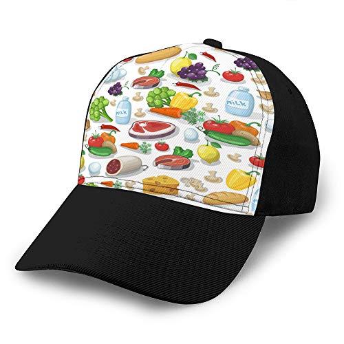 dsgdfhfgjghcdvdf 8 Snapback Hat Sandwich Peaked Cap Langlebige Baseball Cap Hüte Verstellbare Peaked Trucker Cap Alltagsnahrungsmittel für Männer Frauen