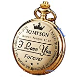 Golden Pocket Watch to Son I Love You Forever Gifts from a Mom Dad Engraved Fob Watches Chains for Kids