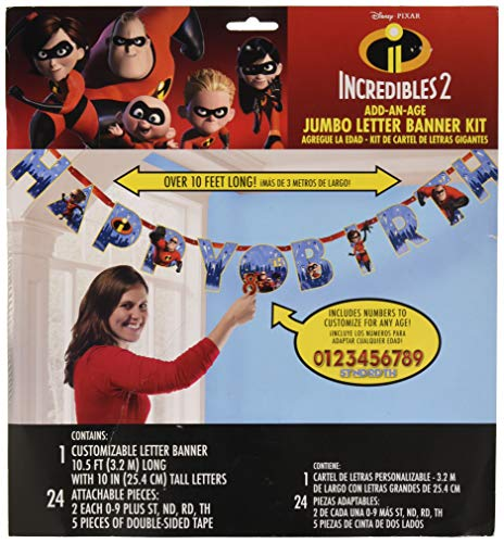 amscan Disney/Pixar Incredibles 2 Jumbo Add-an-Age Happy Birthday Letter Banner, Multicolor, Standard