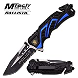 Mtech 8' Police Blue/Black Spring Assisted Folding Knife Blade Pocket Open Switch- Firefighter Rescue Pocket Knife - Hunting Knives, Military Surplus - Survival and Camping Gear