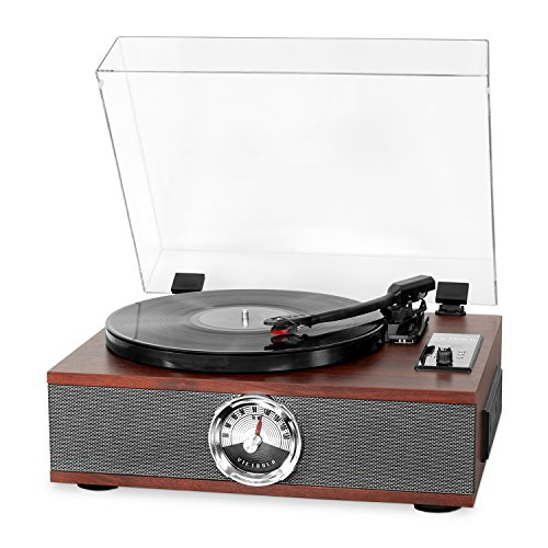 Victrola 5-in-1 Wood Bluetooth Record Player with 3-Speed Turntable, CD and Radio Mahogany