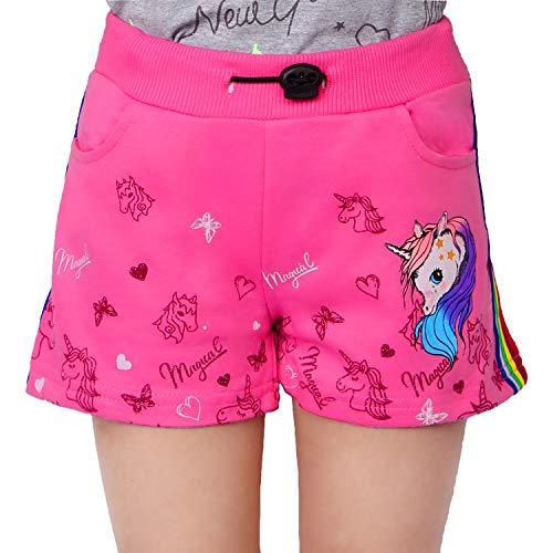 L&K-II Mädchen Shorts mit Einhorn und Farbstreifen Muster Kinder Baby Kurze Hose Baumwolle 2705 Rosa 128