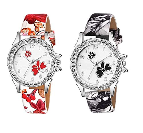 ReniSales New Diamond Cut Glass Leather belt watch For Women Analog Watch - For Girls