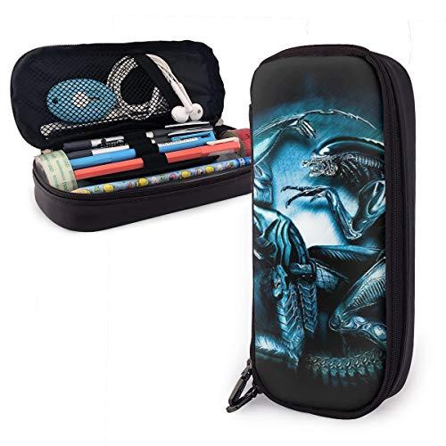 Alien VS Depredator - Funda de piel con doble cremallera para adultos, niñas, niños, escuela, oficina