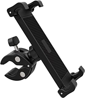 DHYSTAR Tablet Mount Holder for Music Microphone Mic Stand Poles,Indoor Gym Handlebar on Stationary Cycling Bicycle,Exercise Spin Bike,Treadmill, Wheelchair, Fits Most Tablets/Large Size Cell Phones