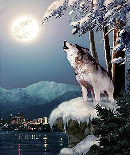 Lijuan Pittura Diamante 5D Kit Fai-da-Te Diamante Rotondo Art-Moon Wolf Scena Neve 45x50cm Strass Ricamo Punto Croce Mosaico Decorazione Artistica Regalo per Bambini