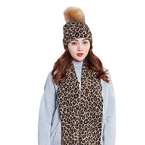 VVXXMO Gorro de bufanda para mujer, 2 piezas, grueso de punto, cálido, con pompón esponjoso, estampado de leopardo, largo chal