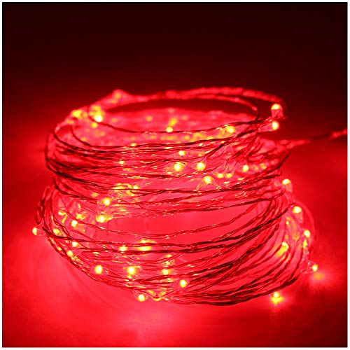 5M(16,4Ft) 50 LEDs Cadena de Luces Impermeable Flexible de Alambre de Plata con Caja de Batería AA(Batería No Incluye) para Iluminación DIY, Navidad y Decoración Fiesta (Rojo)