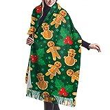 yongding Biscotti di panpepato natalizio e bacche di agrifoglio Confortevole sciarpa scialle Sciarpa invernale in cashmere per donna Uomo