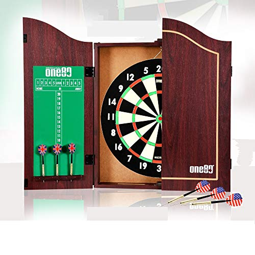 ONE80 All-in-One Dartgame Center with Self-Healing Sisal Dartboard & Multifunctional Cabinet. 12...