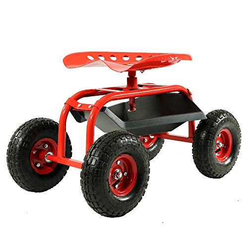 Sunnydaze Rolling Garden Cart Scooter with Wheels