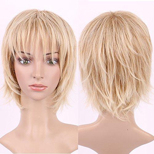 Kurze Perücke gerade gewellte blonde blonde Highlight Haar volle Perücken tägliche Party