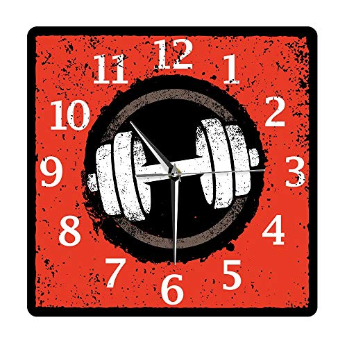 N / A Reloj de Pared Fitness Dumbbell Ejercicio Estilo de Vida Saludable Sin tictac Acrílico Impreso Reloj Colgante de Pared Body Building Gym Decoración Reloj de Pared