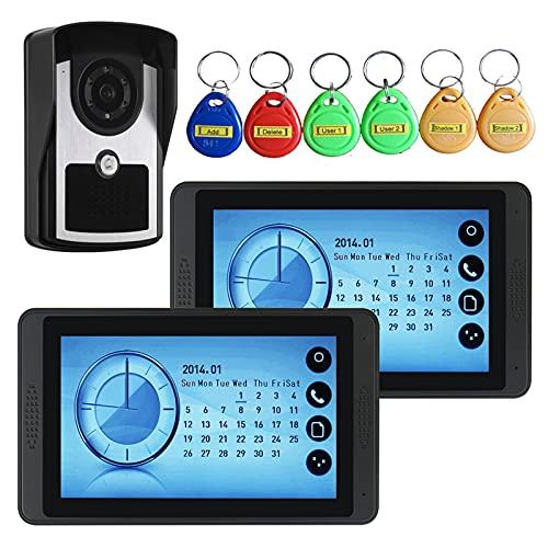 Timbre con video, intercomunicador, teléfono con videoportero de 7 pulgadas con cable, 2 monitores de pantalla táctil + cámara de visión nocturna por infrarrojos + 6 tarjetas