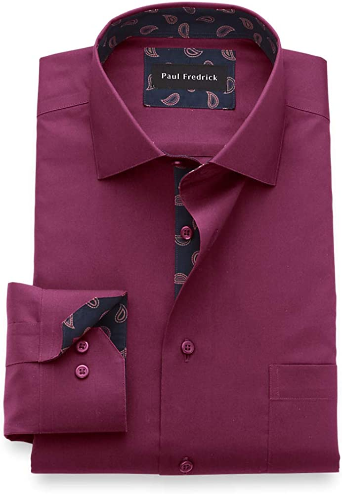 Paul Fredrick Men's Slim Fit Non-Iron Cotton Solid Dress Shirt