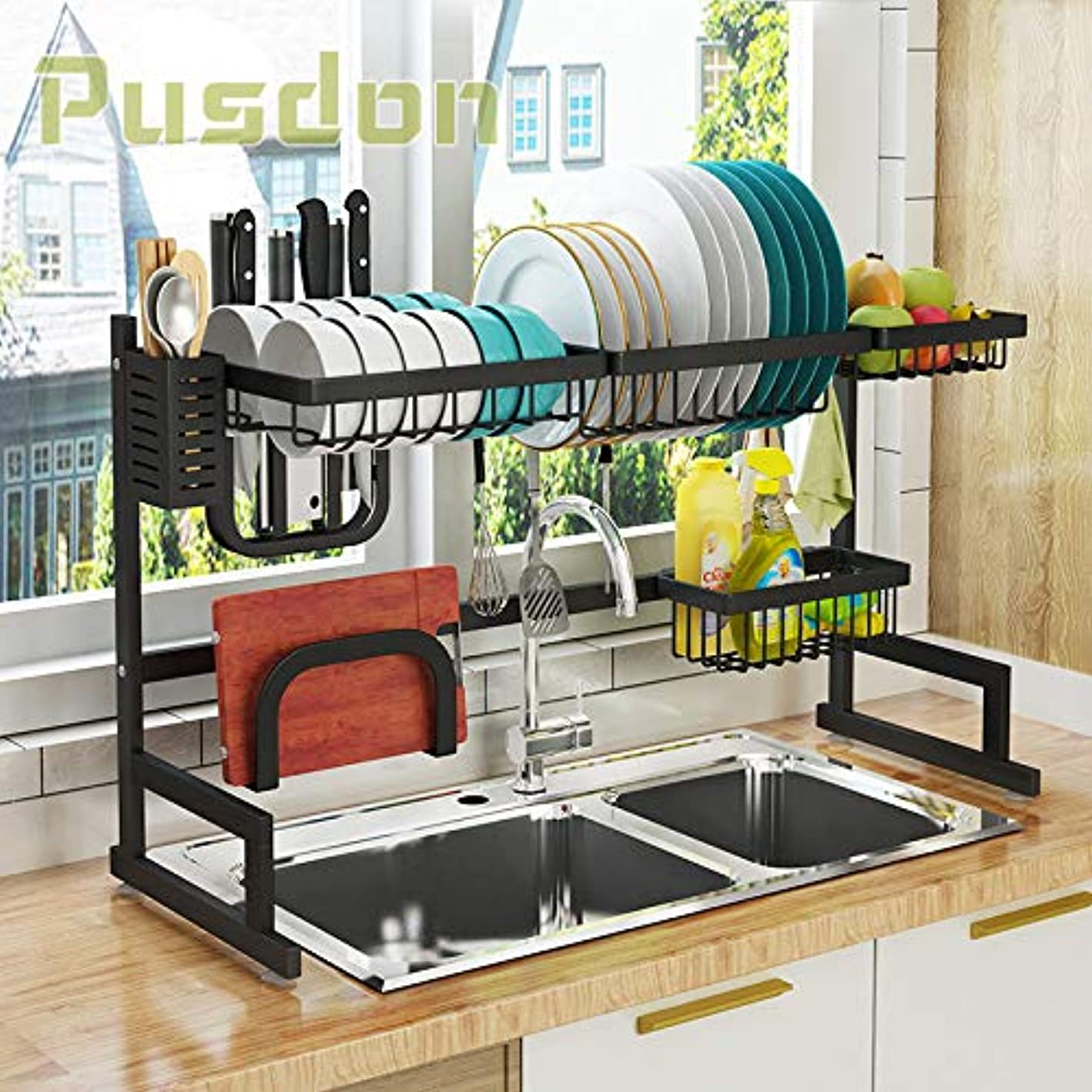 Dish Drying Rack Over Sink, Drainer Shelf for Kitchen Supplies Storage Counter Organizer Utensils Holder Stainless Steel Display- Kitchen Space Save Must Have (Sink size ≤ 32 1/2 inch, black)