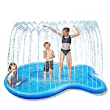 Glymnis Tappetino Gioco d'Acqua Giochi Acqua Bambini Gioco da Giardino per Bambini a Forma di Balena Splash Play Mat Gioco da Esterno per Bambini Portatili Estivi Piscina Esterna per Bambini