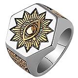 Gothic Lolita Men's Sun Devil Eyes hexagon Masonic Stainless steel Freemason Totem Ring (11)
