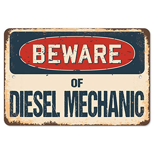Beware of Diesel Mechanic Rustic Sign | Rustic, Distressed Vintage Look | Choose from: Aluminum, Rigid Plastic or Decal Sticker | Indoor/Outdoor | Funny Home Décor for Garages, Living Rooms, Bedrooms