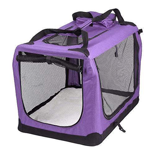 AVC Portable Soft Fabric Pet Carrier Folding Dog Cat Puppy Travel Transport Bag (Medium, Purple)