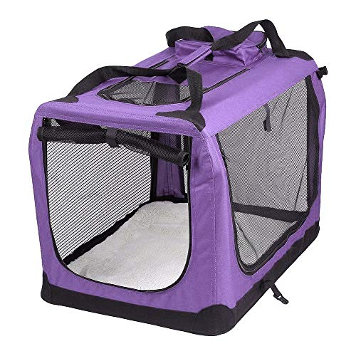 AVC Portable Soft Fabric Pet Carrier Folding Dog Cat Puppy Travel Transport Bag (Medium, Purple)
