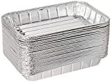 Pack of 20 Disposable Aluminum Foil Toaster Oven Pans-Mini Broiler Pans | BPA Free | Perfect for Small Cakes or Personal Quiche | Standard Size - 8 1/2' x 6'