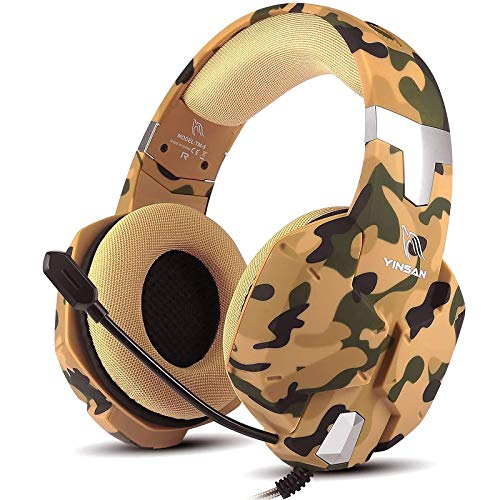 Yinsan PS4 Headset Gaming Headset für Xbox One, 7 LED Leuchten Stereo Surround Sound Soft Memory Ohrenschützer Gaming Kopfhörer mit Mikrofonabschaltung und Lautstärkeregler PC Headset