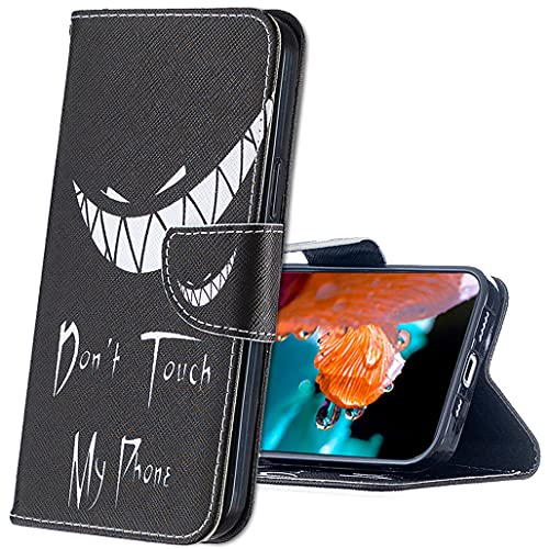 MRSTER Coque Samsung Galaxy J6+ Housse, Bookstyle Étui Motif Coloré Imprimé Housse PU Etui en Cuir Portefeuille de Protection Etui à Rabat pour Samsung Galaxy J6 Plus 2018. BF Bad Smile
