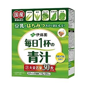 伊藤園 毎日1杯の青汁 (粉末タイプ) (有糖) (豆乳とはちみつ入りでおいしい) 20包入×3箱セット