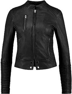 VearFit Streer Slim Fit Lamb-Skin Designer Black, Red, Tan and Gray Women Leather Jacket