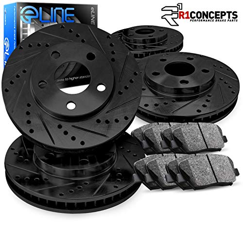 For 2001-2006 BMW 330i 330Ci Front Rear eLine Black Drilled Brake Rotors 330xi