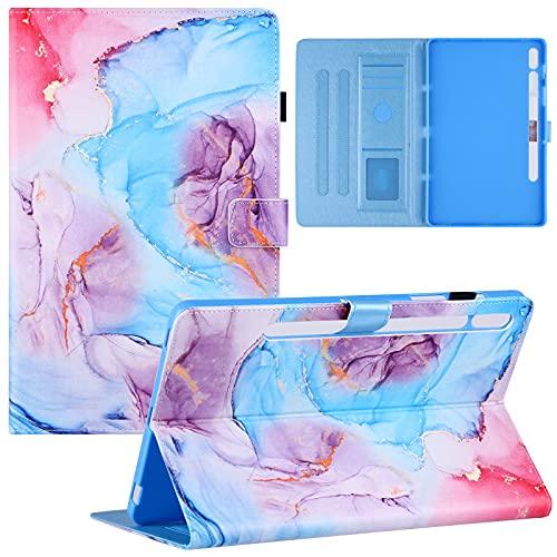 YKTO Funda para Samsung Galaxy Tab S7 SM-T870/T875 11' Protectora Flipper Smart Cover Completa Protectora Carcasa de Cuero PU Cuero Carcasa para Samsung Galaxy Tab S7 SM-T870/T875 11', Azul marmol