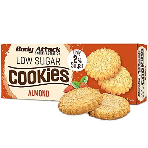 Body Attack-Low Sugar Cookies, wenig Zucker aber super lecker und aspartamfrei, knuspriger Keks aus Weizenmehl, der perfekte Snack für zwischendurch - Made in Germany – 6 Cookies (Almond)