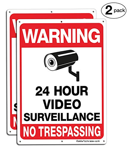 Faittoo 2 Pack Video Surveillance Sign, No Trespassing Metal Reflective Warning Sign, 10 x7 Inches 0.40 Aluminum Indoor or Outdoor Use for Home Business CCTV Security Camera,UV Protected & Waterproof
