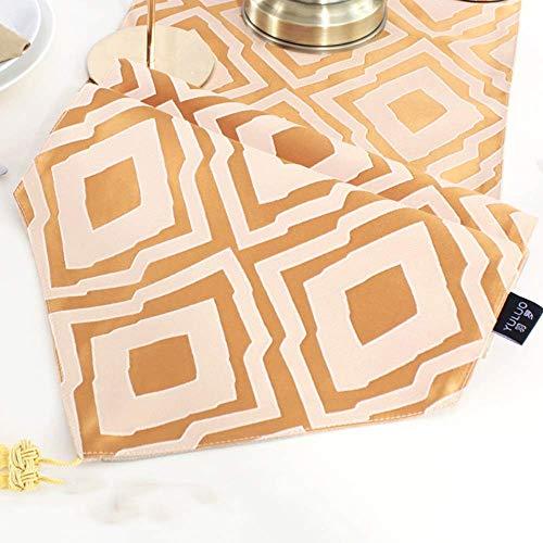 ZXL Tafelloper, 12 'x 80' Moderne minimalistische satijnen tafelvlag, Jacquard kwast tafelkleed, oranje | gouden | groen, interieur | bruiloft | party | geschenk (kleur: donkerblauw, grootte