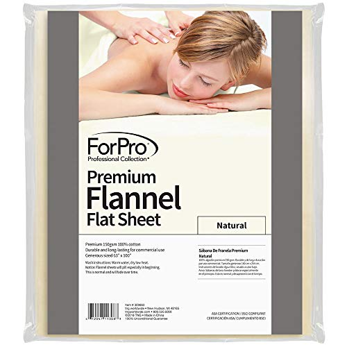 ForPro Premium Flannel Flat Sheet – Wrinkle-Resistant Massage Sheet - Natural