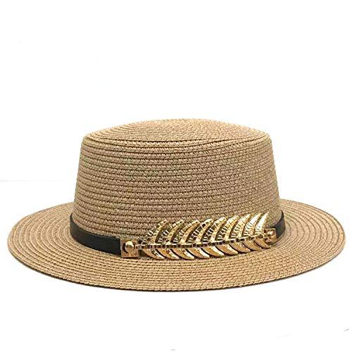 Sun Hat Chapeau de paille pour femme - Chapeau de plage pliable - Ceinture noire avec feuilles dorées - Unisexe - Marron - XXL