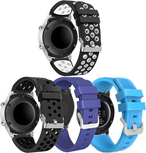 Simpleas Correa de Reloj Recambios Correa Relojes Caucho Compatible con Amazfit Pace/Stratos/GTR 47mm - Silicona Correa Reloj con Hebilla (22mm, 4PCS D)