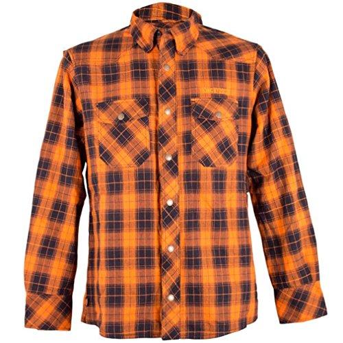 King Kerosin Herren Langarm Kevlar Biker Hemd Holzfällerhemd - Check Woodcutter Shirt Grün-Creme bis 3XL (XXL)
