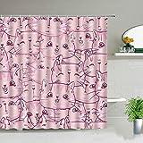 Cartoon Katze & H& Duschvorhang Tiermuster Badezimmerdekoration wasserdichter Haushalt Badetuch Vorhang S.17 180x200cm